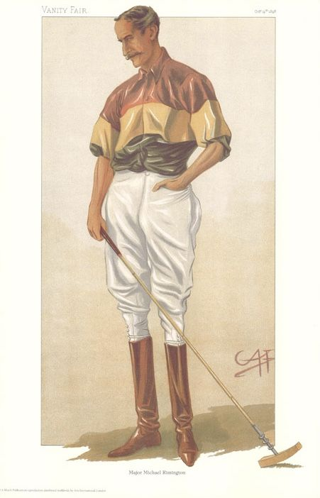 "Vintage Polo Player Print. - ""Descended From Edward Longshanks"" (Major Michael Rimington)"
