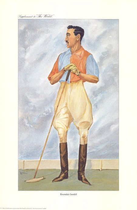"Vintage Polo Player Print. - ""Riversdale Grenfell"" (Mr R Gennfell)"