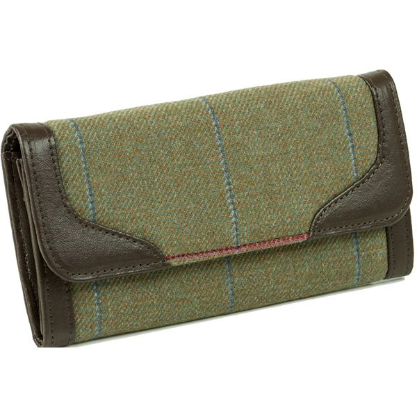 Iris Sage Green-Red/Blue Tweed Purse